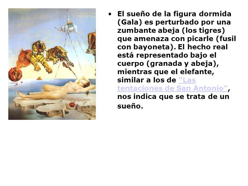 El sueño de la figura dormida (Gala) es perturbado por una zumbante abeja (los tigres) que amenaza con picarle (fusil con bayoneta).