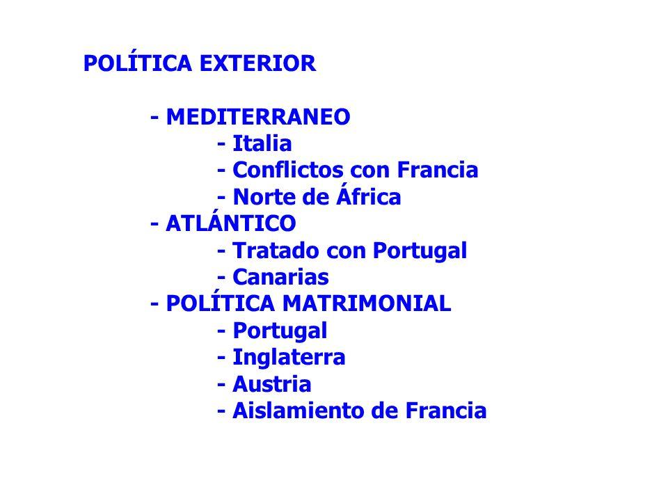 POLÍTICA EXTERIOR- MEDITERRANEO. - Italia. - Conflictos con Francia. - Norte de África. - ATLÁNTICO.