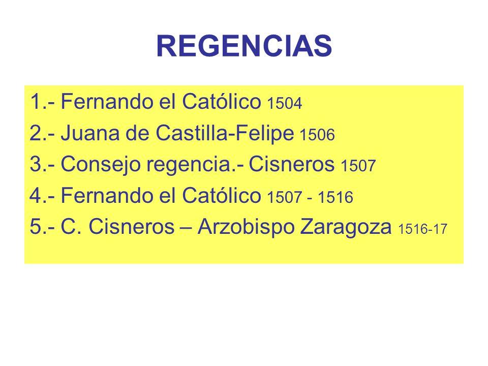 REGENCIAS 1.- Fernando el Católico 1504