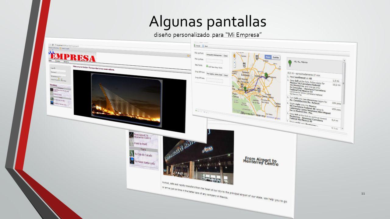 Algunas pantallas diseño personalizado para Mi Empresa