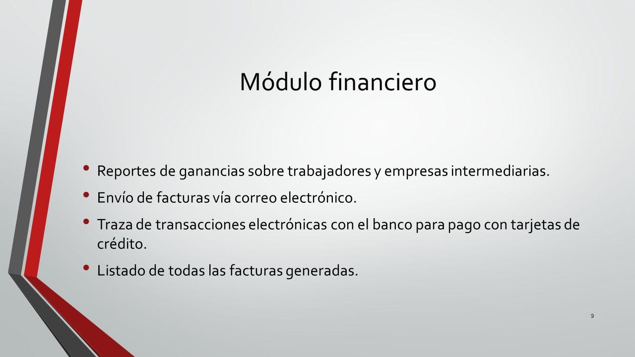 Módulo financiero Reportes de ganancias sobre trabajadores y empresas intermediarias. Envío de facturas vía correo electrónico.