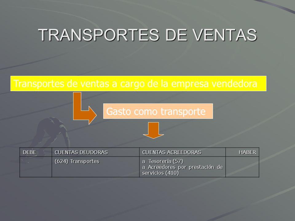TRANSPORTES DE VENTASTransportes de ventas a cargo de la empresa vendedora. Gasto como transporte. DEBE.