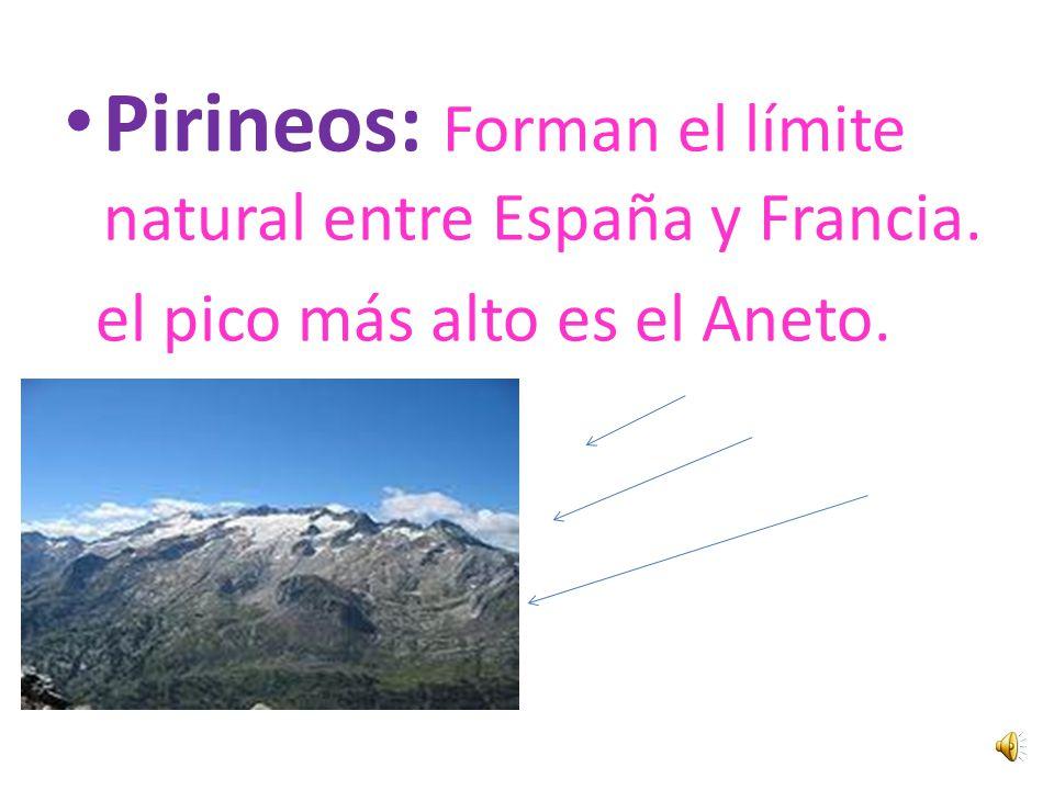 Pirineos: Forman el límite natural entre España y Francia.