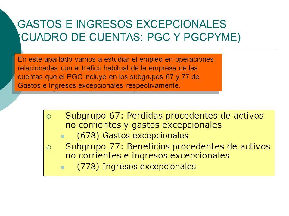 GASTOS E INGRESOS EXCEPCIONALES (CUADRO DE CUENTAS: PGC Y PGCPYME)