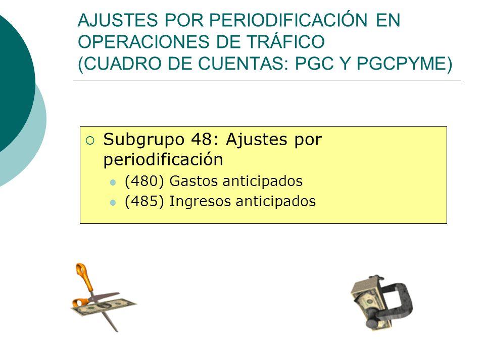 AJUSTES POR PERIODIFICACIÓN EN OPERACIONES DE TRÁFICO (CUADRO DE CUENTAS: PGC Y PGCPYME)