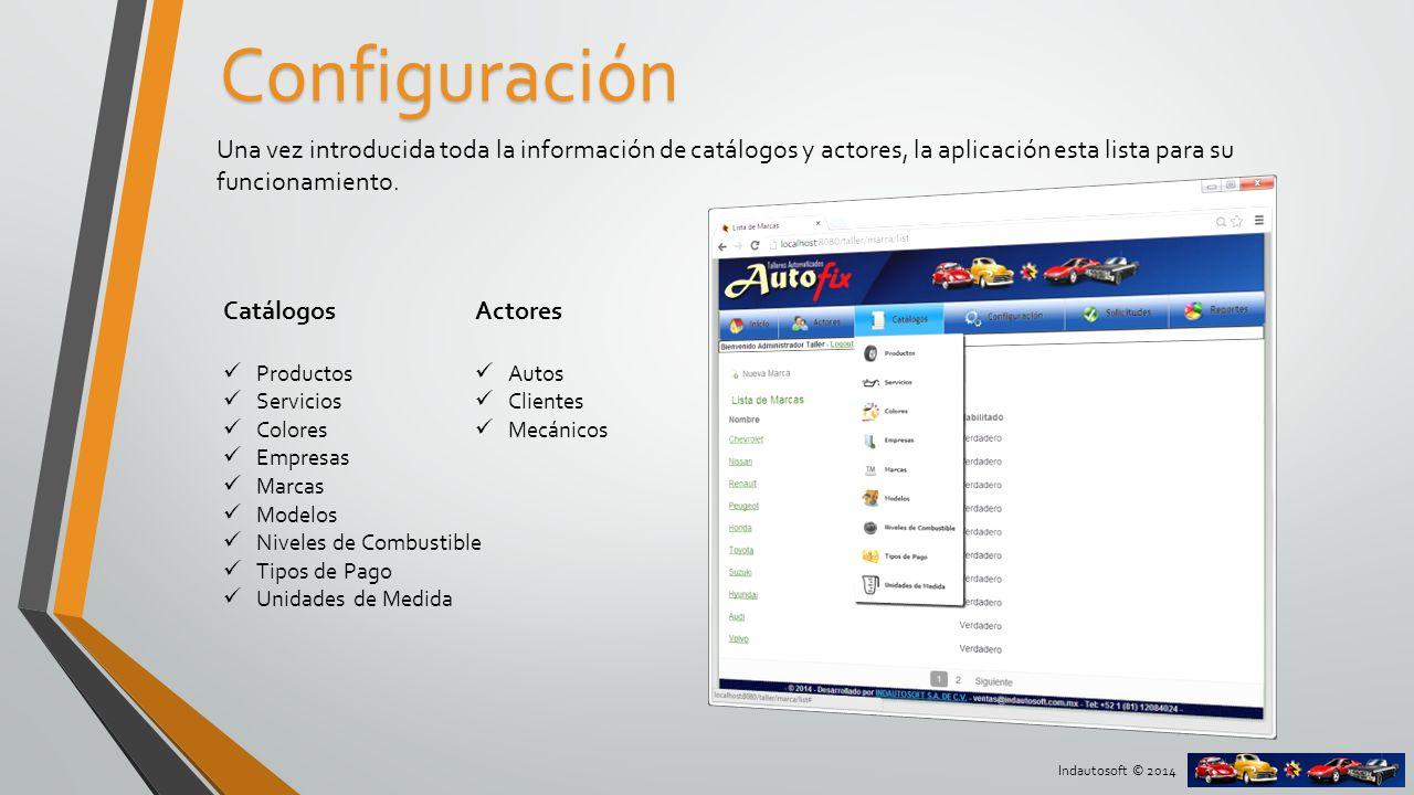 Configuración Una vez introducida toda la información de catálogos y actores, la aplicación esta lista para su funcionamiento.