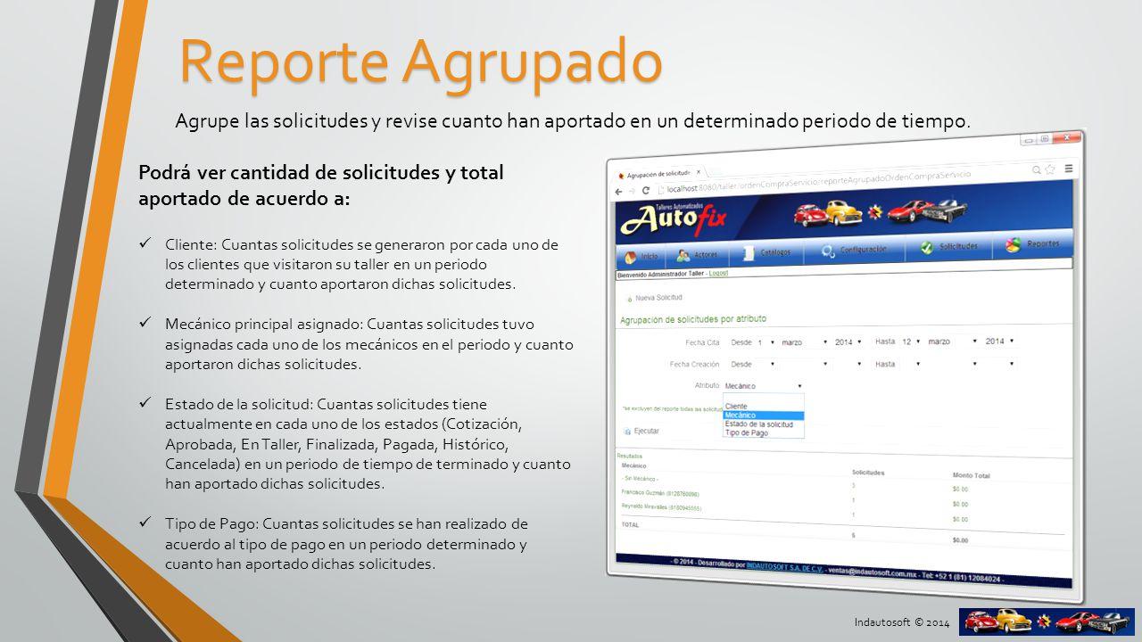Reporte Agrupado Agrupe las solicitudes y revise cuanto han aportado en un determinado periodo de tiempo.