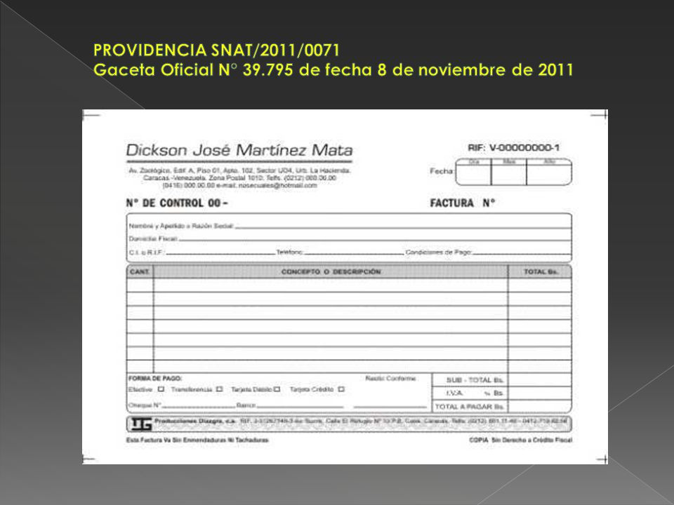 PROVIDENCIA SNAT/2011/0071 Gaceta Oficial N° 39