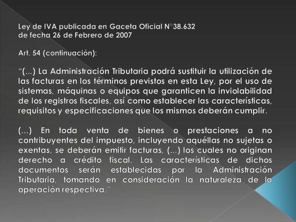 Ley de IVA publicada en Gaceta Oficial N°38.632
