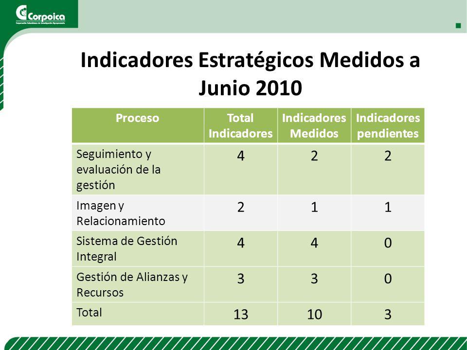 Indicadores Estratégicos Medidos a Junio 2010
