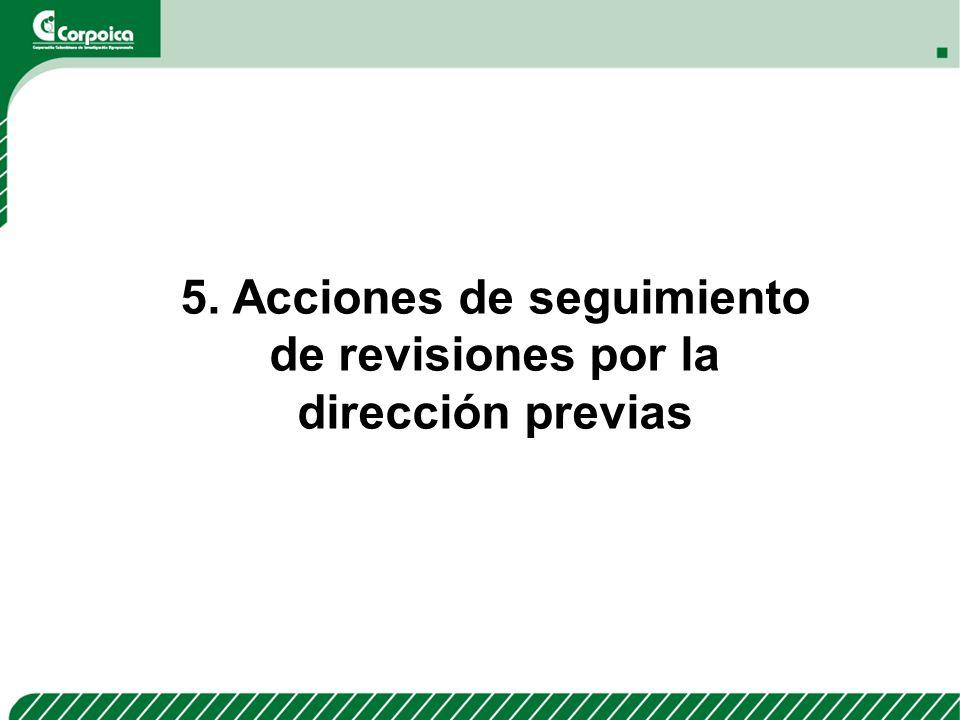 5. Acciones de seguimiento de revisiones por la dirección previas