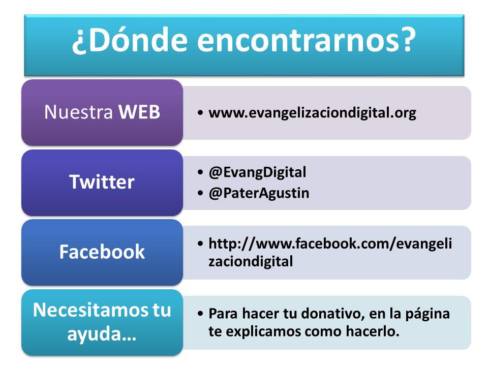 ¿Dónde encontrarnos Nuestra WEB Twitter Facebook
