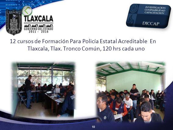 12 cursos de Formación Para Policía Estatal Acreditable En Tlaxcala, Tlax.