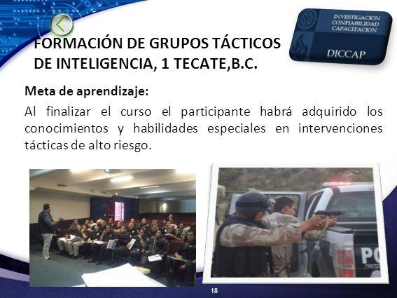 FORMACIÓN DE GRUPOS TÁCTICOS DE INTELIGENCIA, 1 TECATE,B.C.