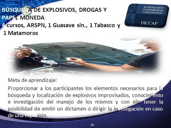 BÚSQUEDA DE EXPLOSIVOS, DROGAS Y PAPEL MONEDA 4 cursos, ARSPN, 1 Guasave sin., 1 Tabasco y 1 Matamoros