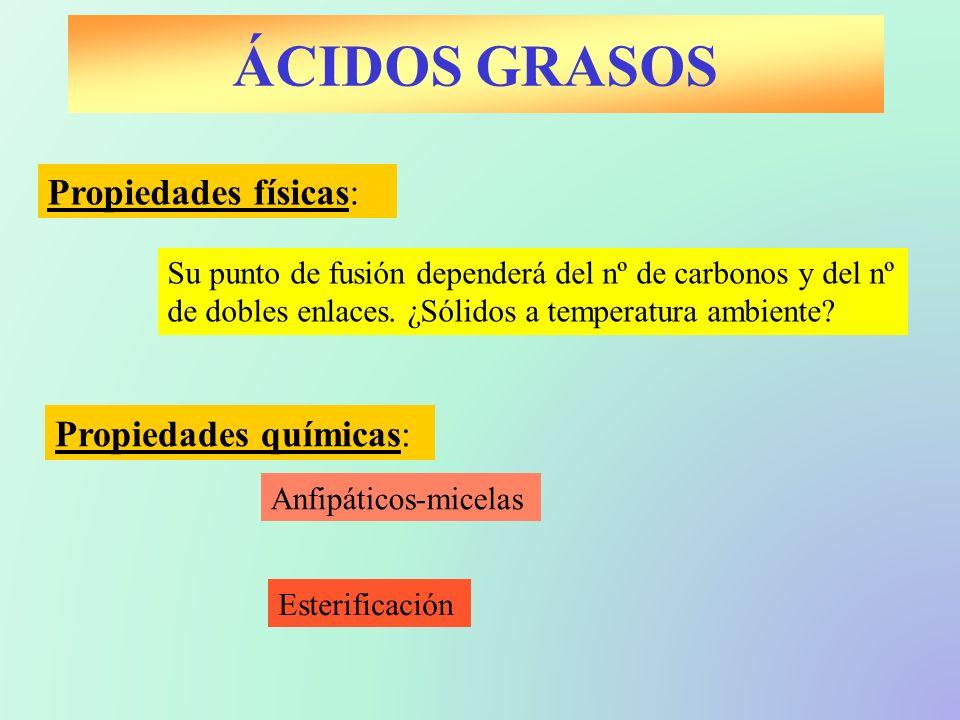 ÁCIDOS GRASOS Propiedades físicas: Propiedades químicas: