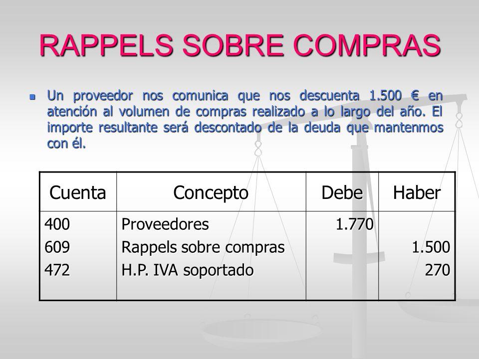 RAPPELS SOBRE COMPRAS Cuenta Concepto Debe Haber 400 609 472
