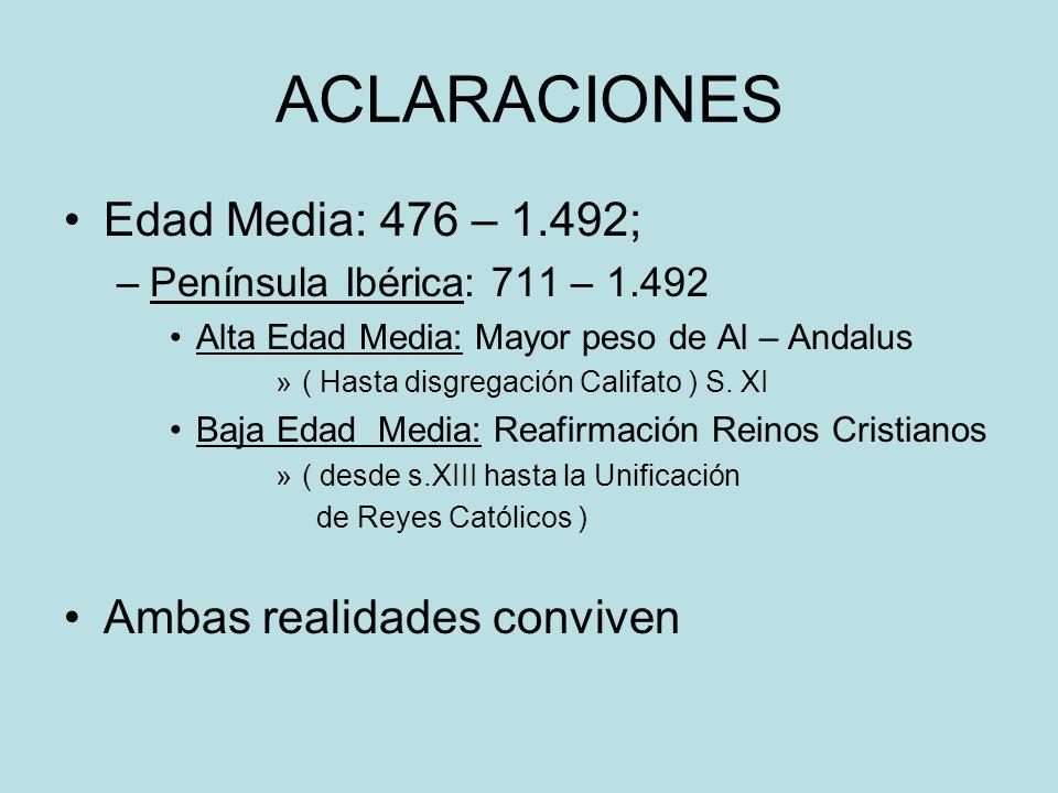 ACLARACIONES Edad Media: 476 – 1.492; Ambas realidades conviven