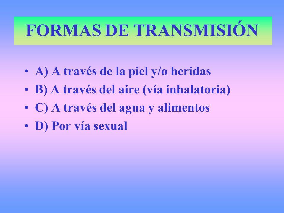 FORMAS DE TRANSMISIÓN A) A través de la piel y/o heridas