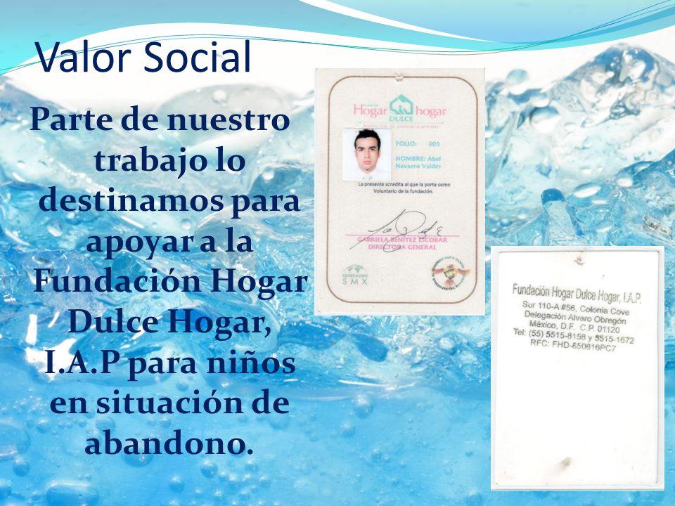 Valor Social Parte de nuestro trabajo lo destinamos para apoyar a la Fundación Hogar Dulce Hogar, I.A.P para niños en situación de abandono.