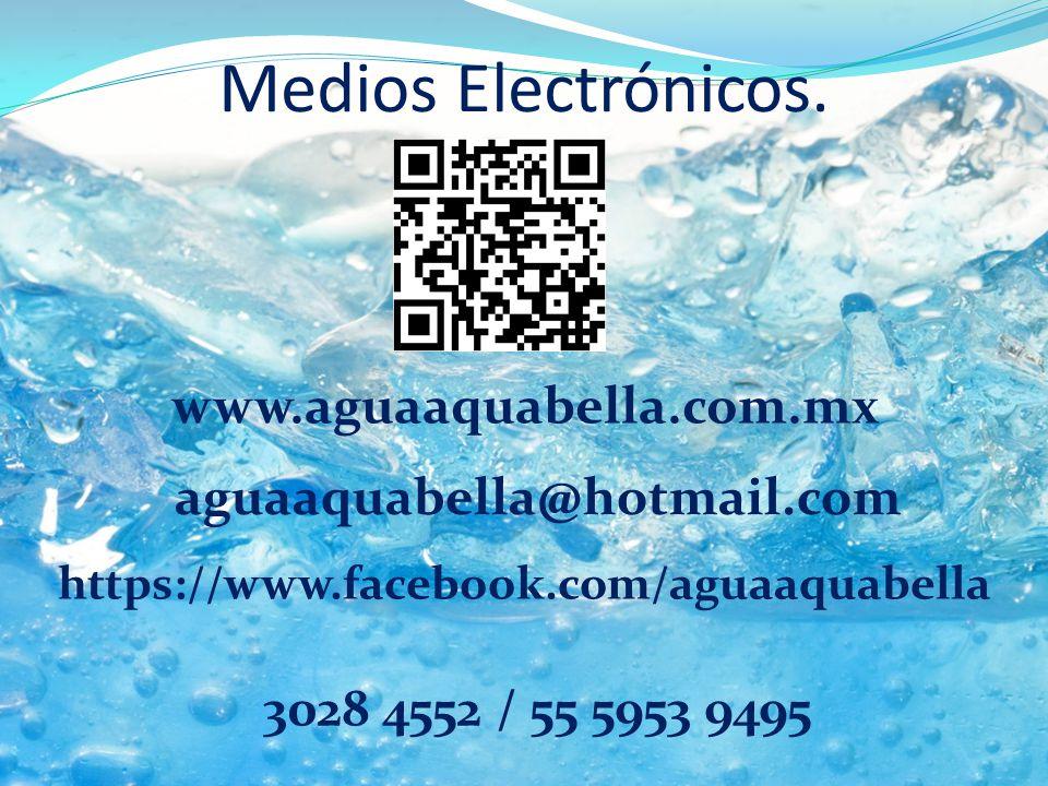 Medios Electrónicos. www.aguaaquabella.com.mx