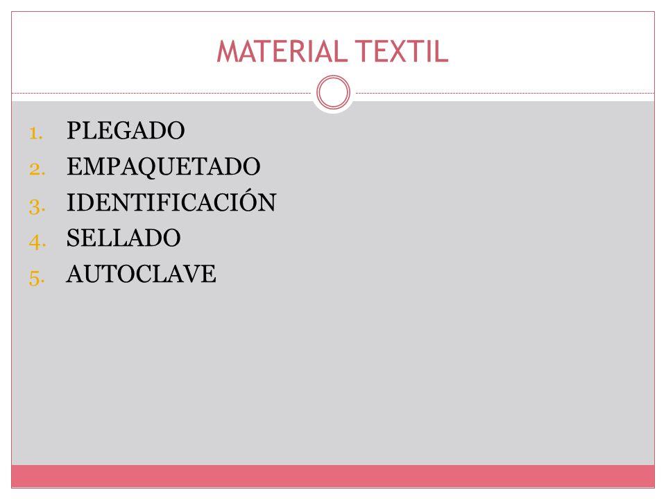 MATERIAL TEXTIL PLEGADO EMPAQUETADO IDENTIFICACIÓN SELLADO AUTOCLAVE