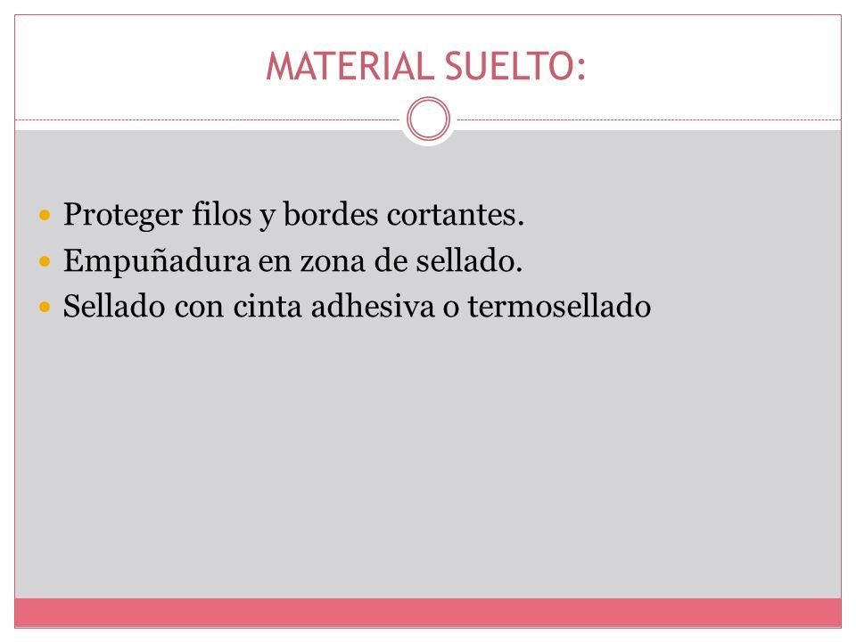 MATERIAL SUELTO: Proteger filos y bordes cortantes.