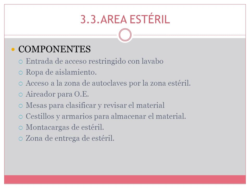 3.3.AREA ESTÉRIL COMPONENTES Entrada de acceso restringido con lavabo