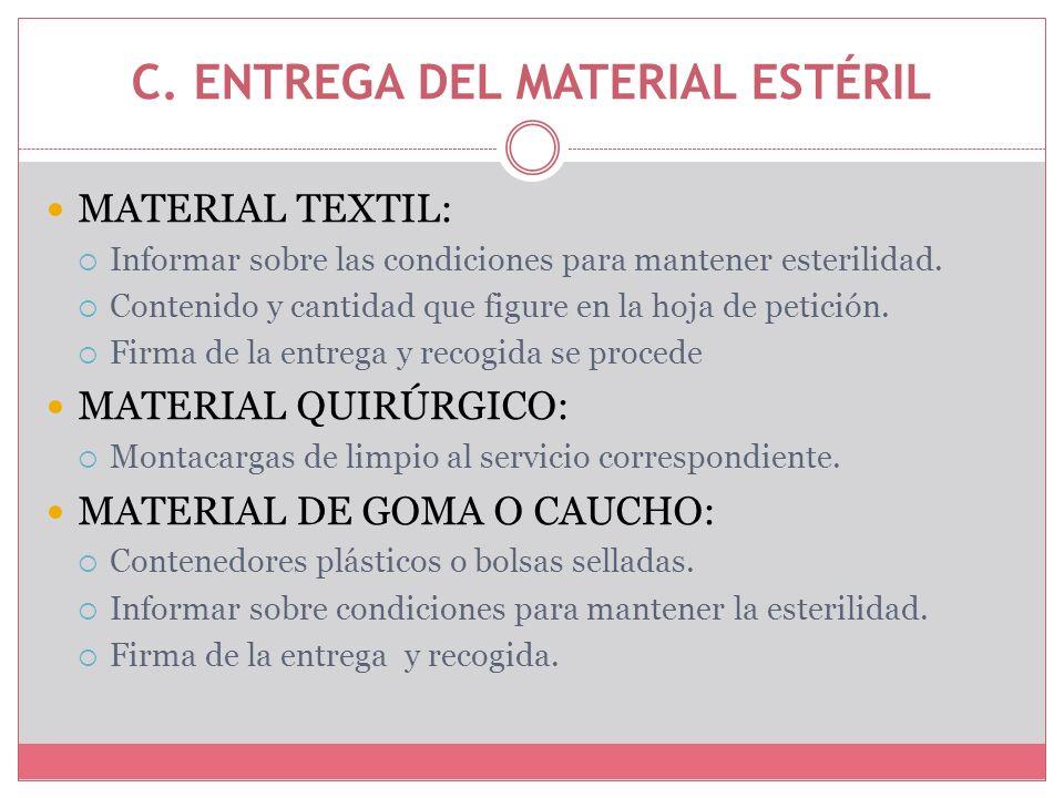 C. ENTREGA DEL MATERIAL ESTÉRIL