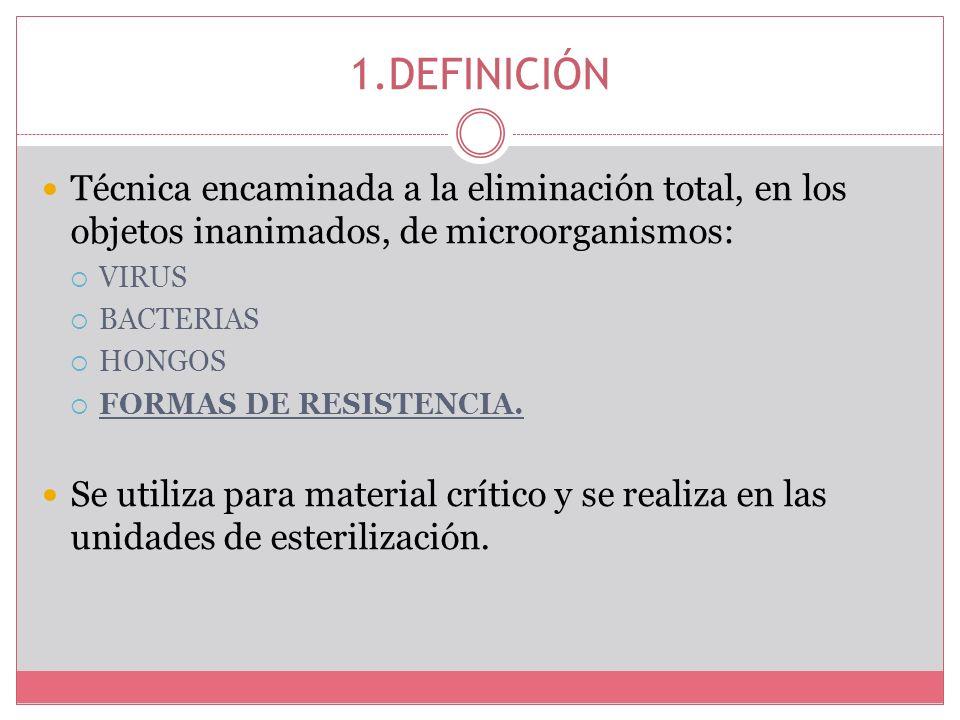 1.DEFINICIÓNTécnica encaminada a la eliminación total, en los objetos inanimados, de microorganismos: