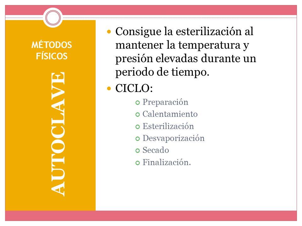 Consigue la esterilización al mantener la temperatura y presión elevadas durante un periodo de tiempo.