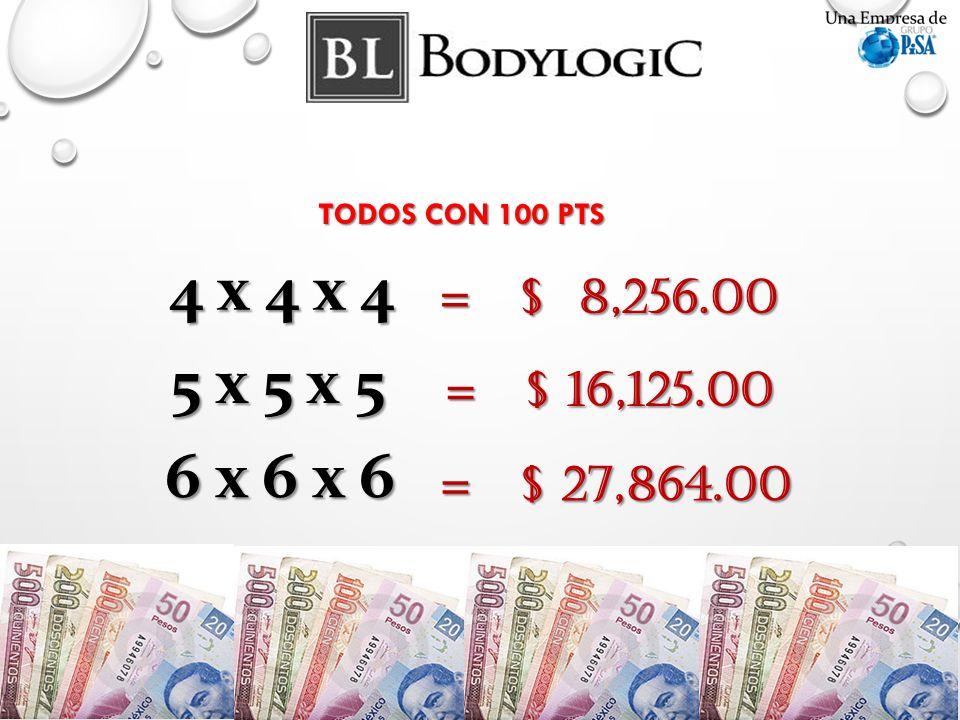 TODOS CON 100 PTS 4 x 4 x 4 = $ 8,256.00 5 x 5 x 5 = $ 16,125.00 6 x 6 x 6 = $ 27,864.00