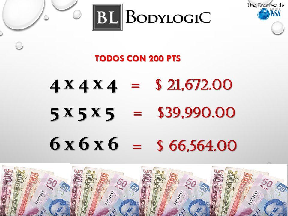 TODOS CON 200 PTS 4 x 4 x 4 = $ 21,672.00 5 x 5 x 5 = $39,990.00 6 x 6 x 6 = $ 66,564.00