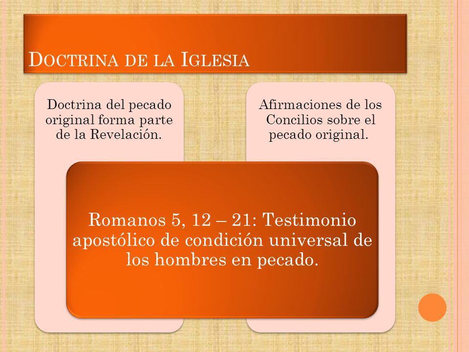 Doctrina de la Iglesia Romanos 5, 12 – 21: Testimonio apostólico de condición universal de los hombres en pecado.