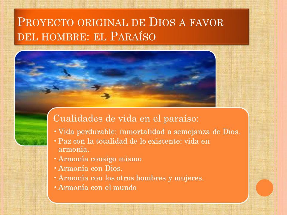 Proyecto original de Dios a favor del hombre: el Paraíso