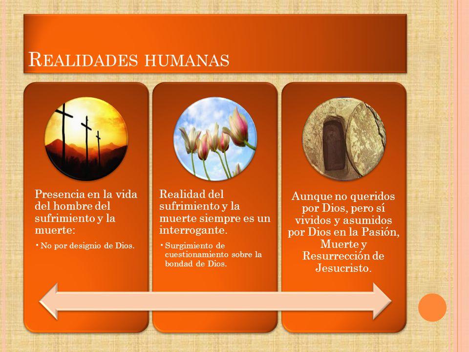 Realidades humanas Presencia en la vida del hombre del sufrimiento y la muerte: No por designio de Dios.