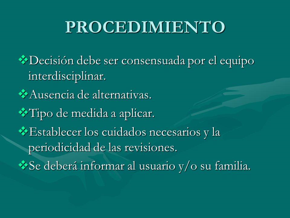 PROCEDIMIENTO Decisión debe ser consensuada por el equipo interdisciplinar. Ausencia de alternativas.