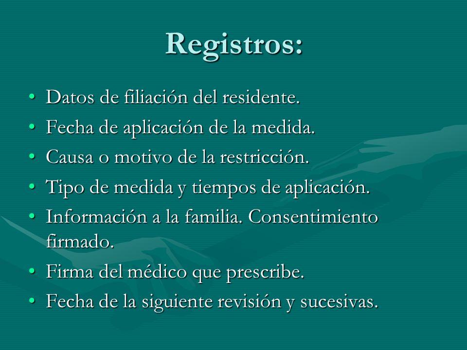 Registros: Datos de filiación del residente.