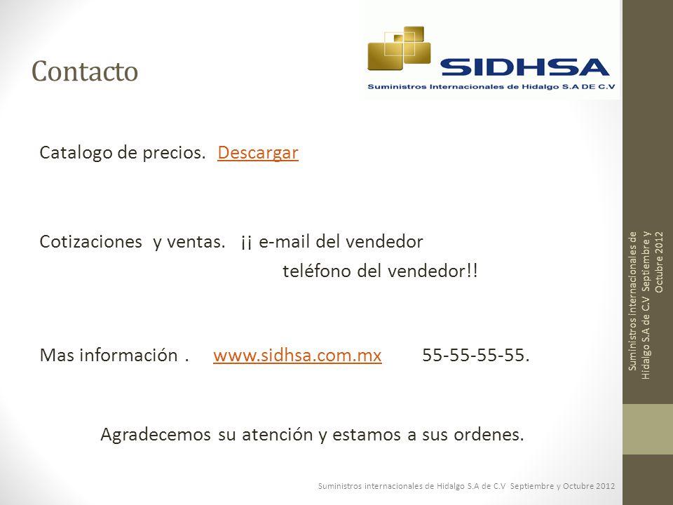 Contacto Catalogo de precios. Descargar