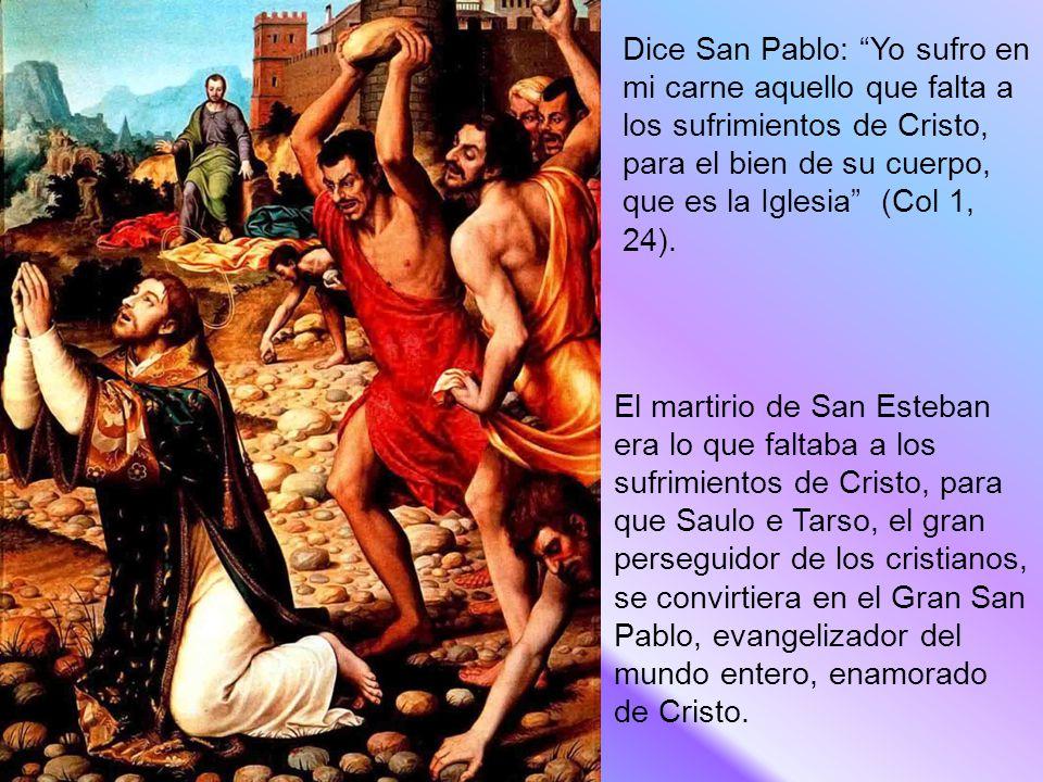 Dice San Pablo: Yo sufro en mi carne aquello que falta a los sufrimientos de Cristo, para el bien de su cuerpo, que es la Iglesia (Col 1, 24).