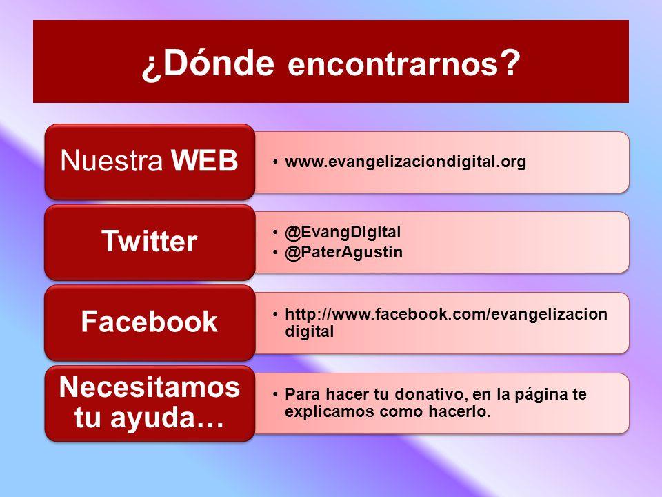 ¿Dónde encontrarnos Necesitamos tu ayuda… Nuestra WEB Facebook