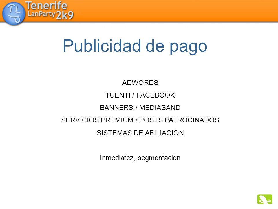 Publicidad de pago ADWORDS TUENTI / FACEBOOK BANNERS / MEDIASAND