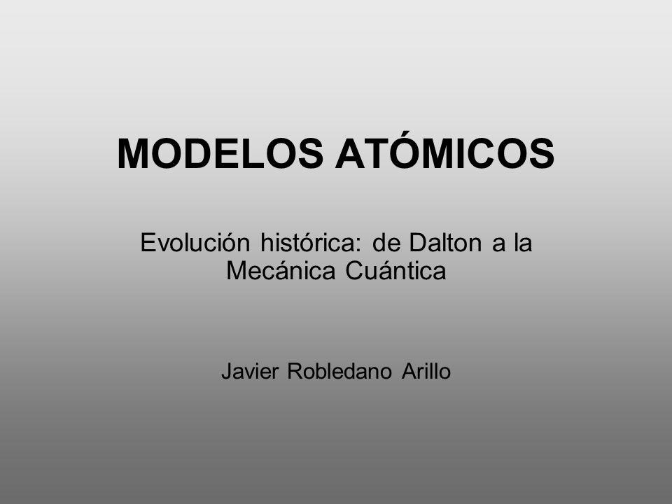 MODELOS ATÓMICOS Evolución histórica: de Dalton a la Mecánica Cuántica