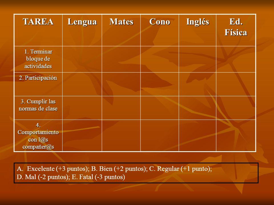 TAREA Lengua Mates Cono Inglés Ed. Física