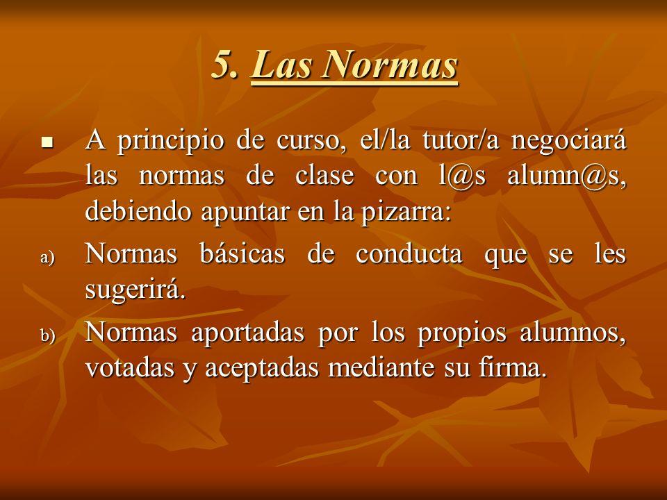 5. Las Normas A principio de curso, el/la tutor/a negociará las normas de clase con l@s alumn@s, debiendo apuntar en la pizarra:
