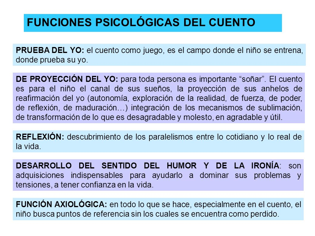 FUNCIONES PSICOLÓGICAS DEL CUENTO