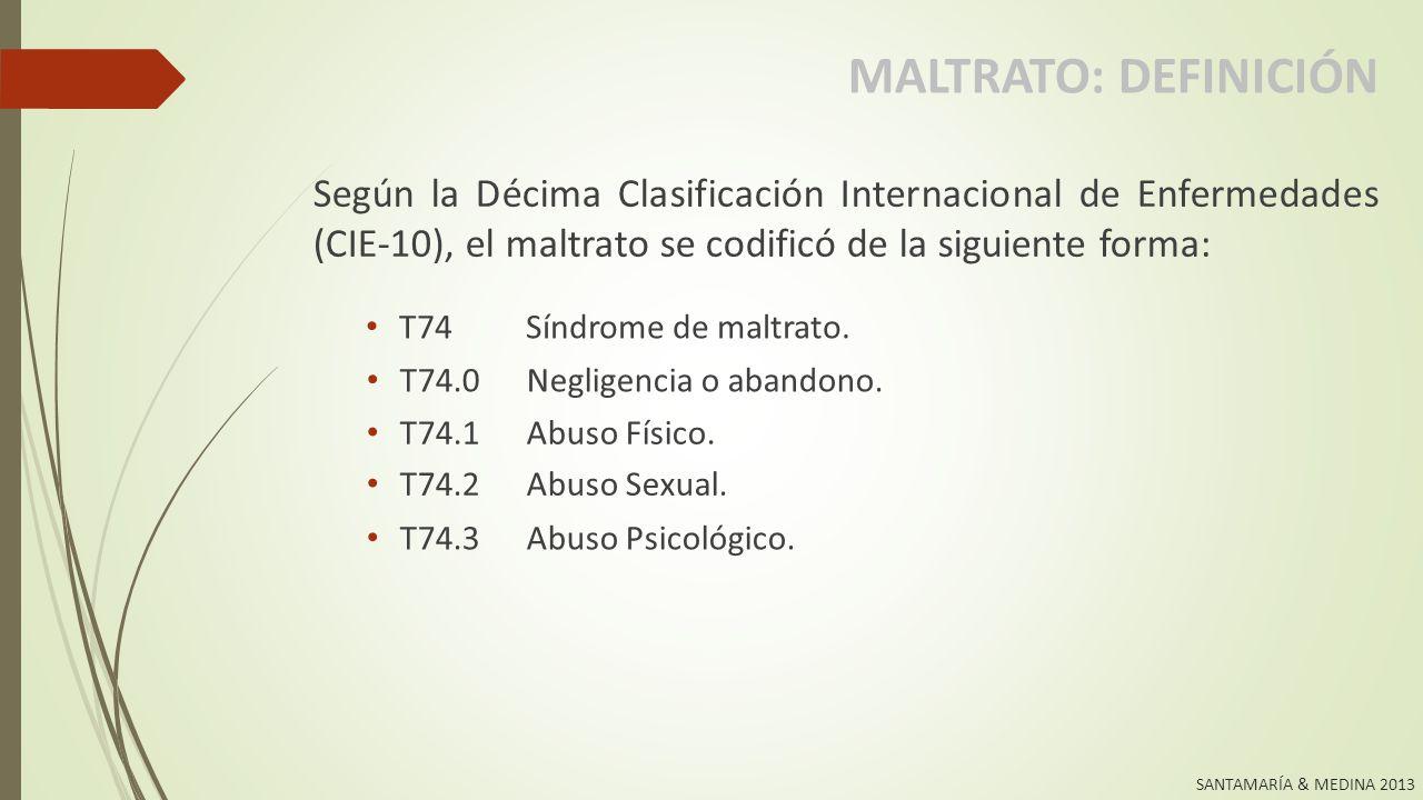 MALTRATO: DEFINICIÓN Según la Décima Clasificación Internacional de Enfermedades (CIE-10), el maltrato se codificó de la siguiente forma: