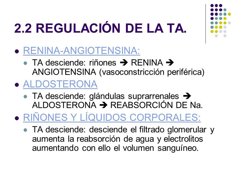 2.2 REGULACIÓN DE LA TA. RENINA-ANGIOTENSINA: ALDOSTERONA