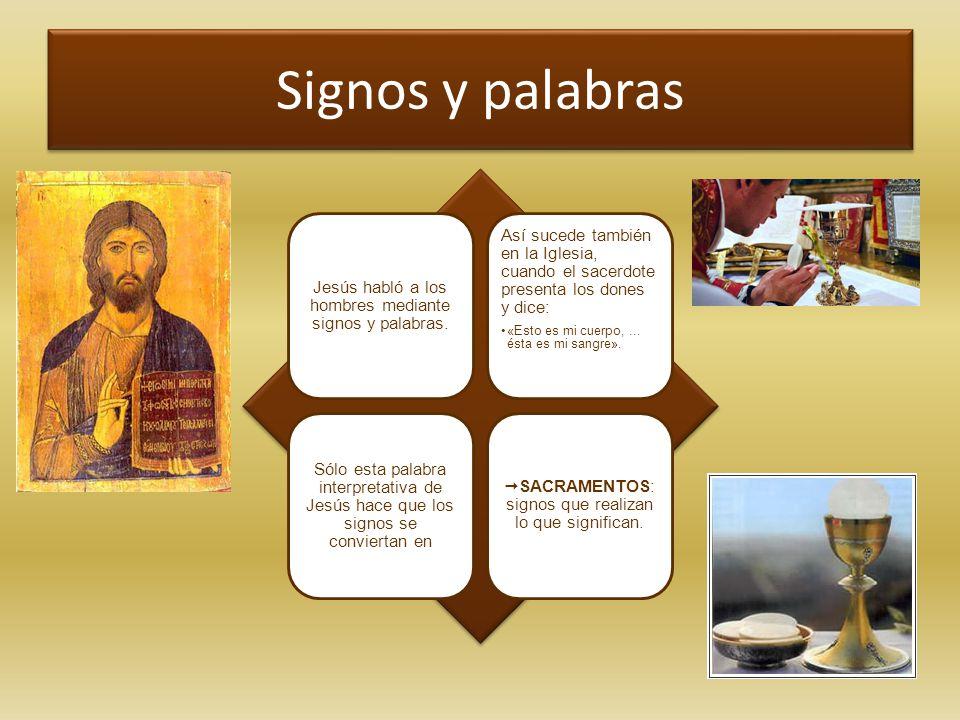 Signos y palabras Jesús habló a los hombres mediante signos y palabras.