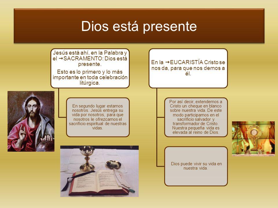 Dios está presente Jesús está ahí, en la Palabra y el SACRAMENTO: Dios está presente.